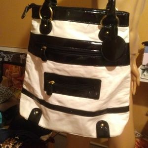 Large color block tote, might be leather
